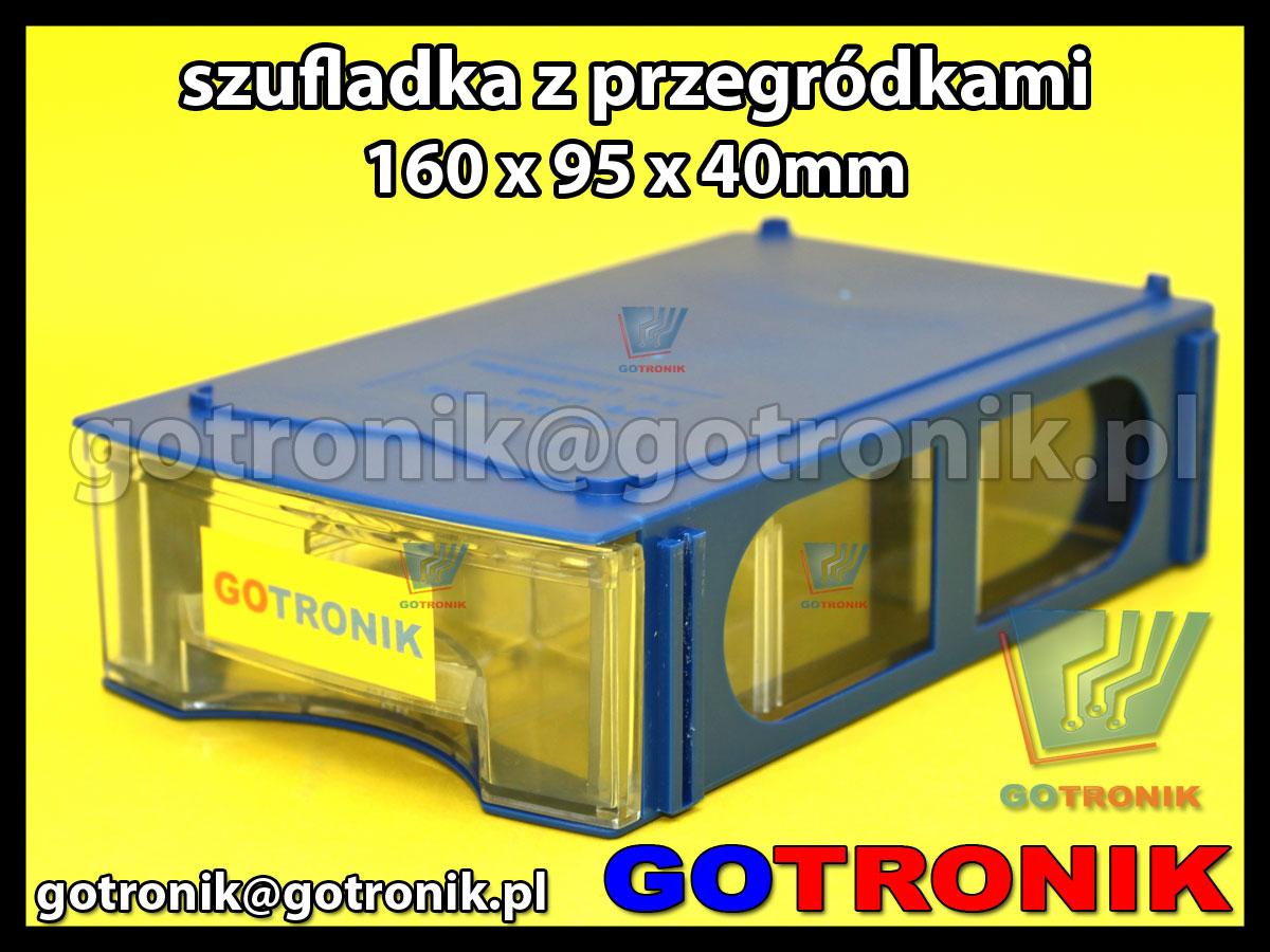 modułowa szufladka plastikowa magazynowa z przegródkami 160x95x40mm