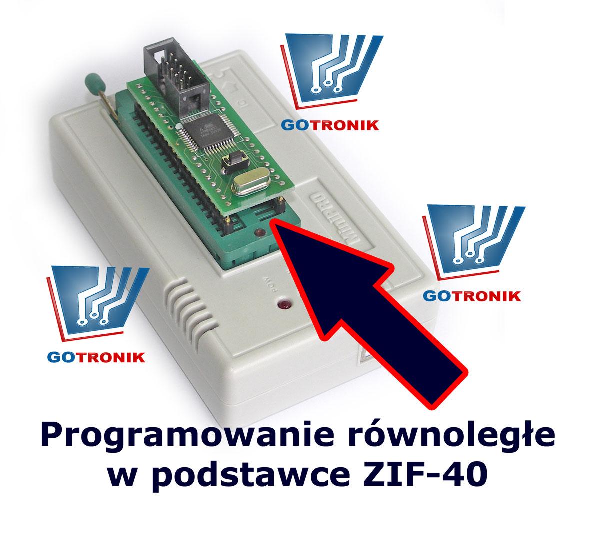 Programowanie równoległe w podstawce ZIF40 procesora ATmega32.
