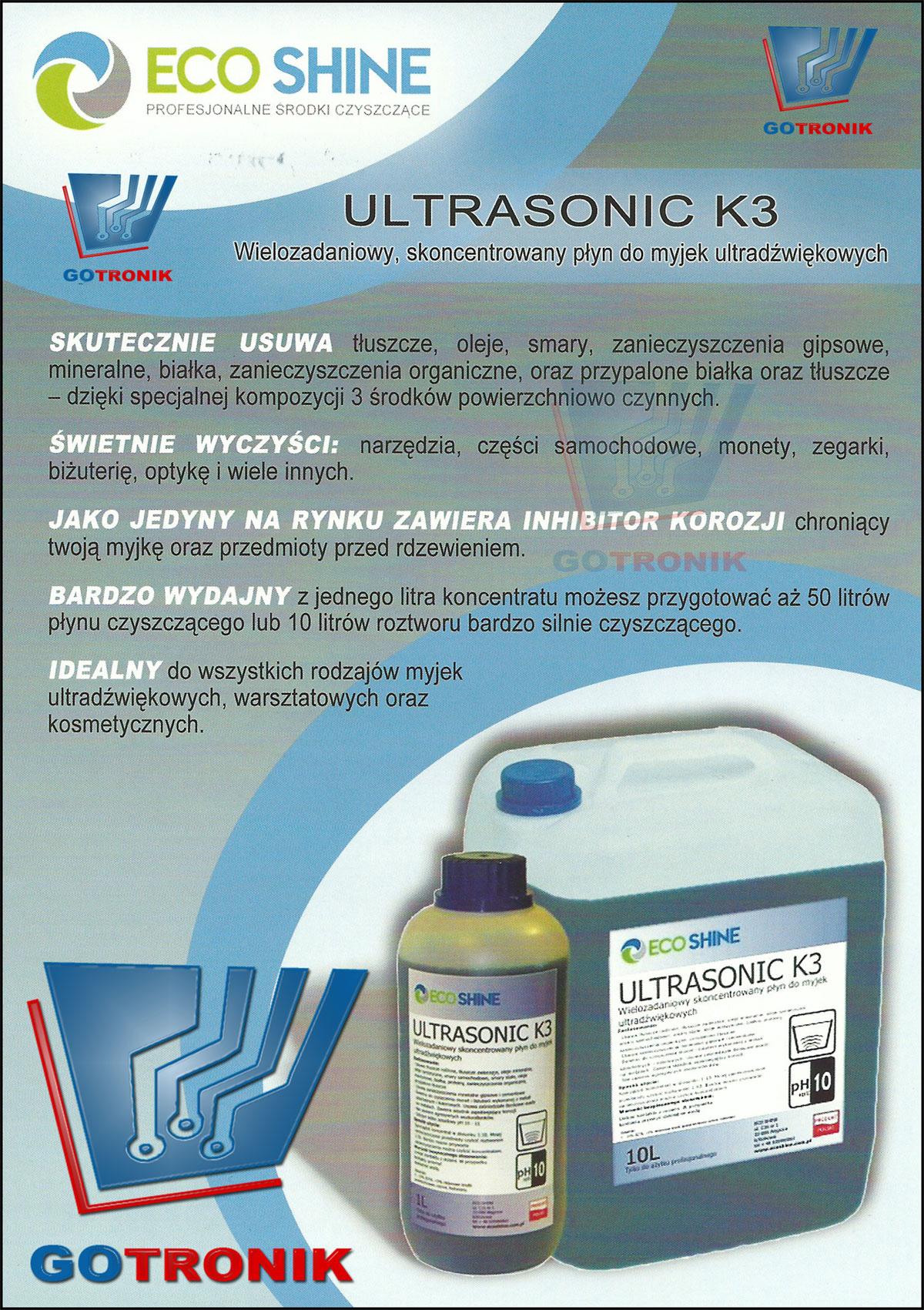 płyn do myjek ultradźwiękowych ULTRASONIC K3 koncentrat 1 litr