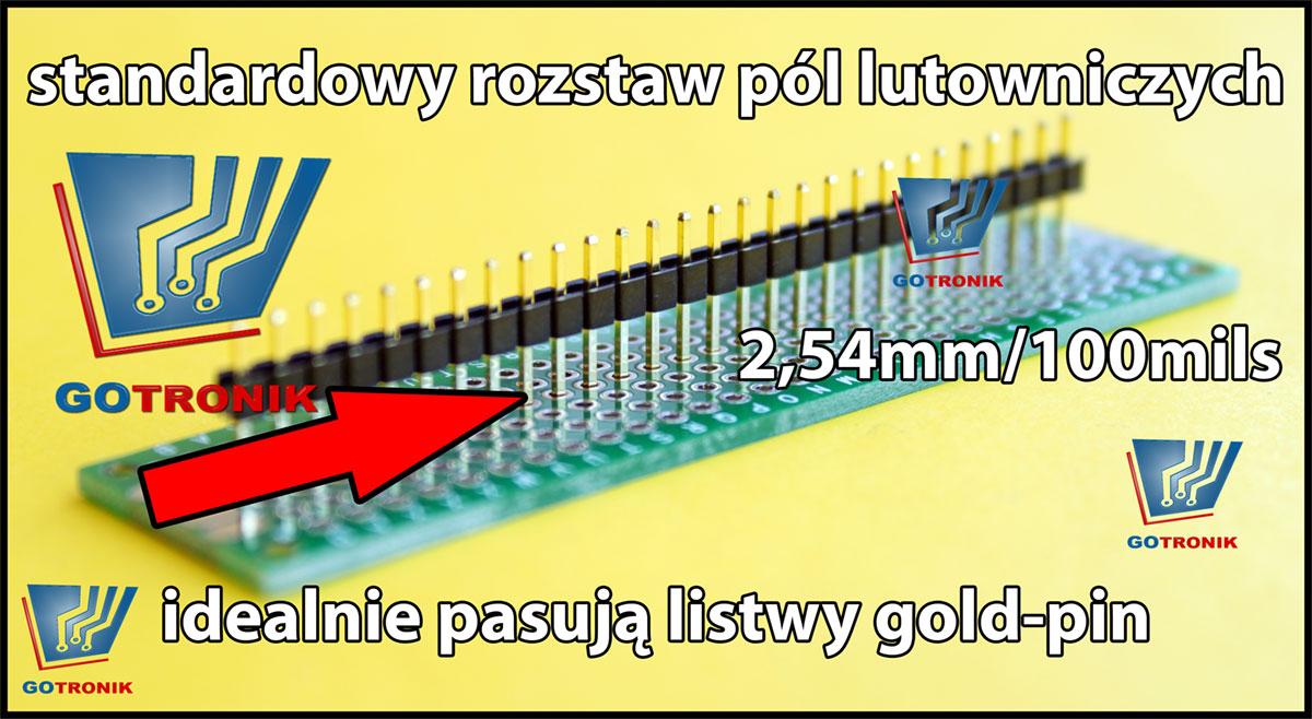 Montaż listw gold-pin w płytce uniwersalnej GOTRONIK