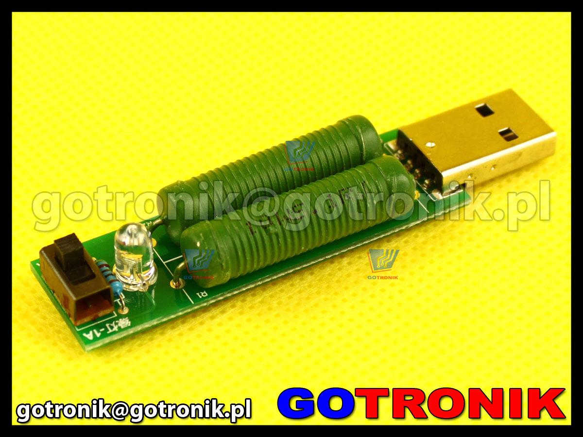 Obciążenie serwisowe portu USB 1A/2A rezystory mocy
