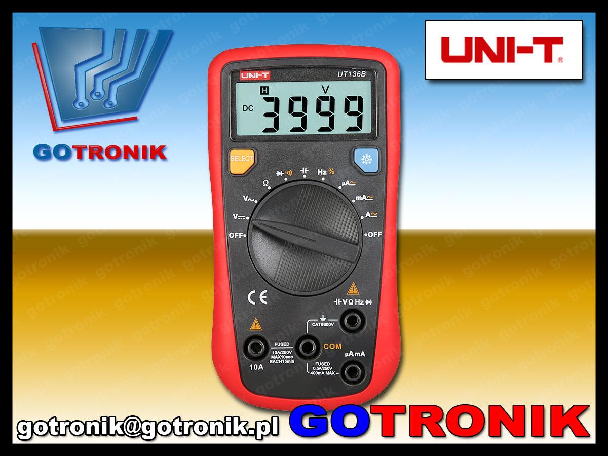 UT136B, unit, multimetr, multimetr cyfrowy, multimetr uniwersalny, miernik cyfrowy, miernik napięcia, miernik prądu, multimetr z cyfrowym wyświetlaczem, multimetr cena,