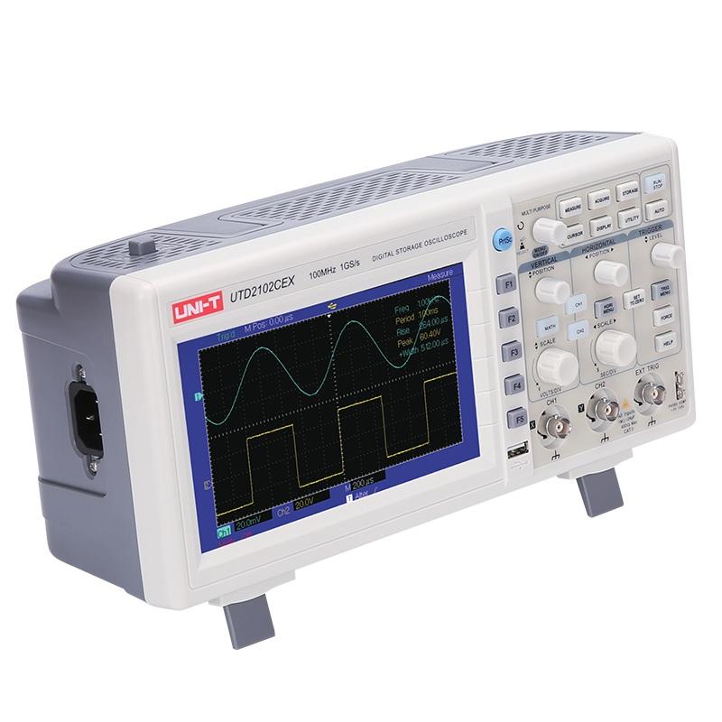 UTD2102CEX dwukanałowy oscyloskop przenośny Uni-t 2x100MHz z kolorowym wyświetlaczem LCD