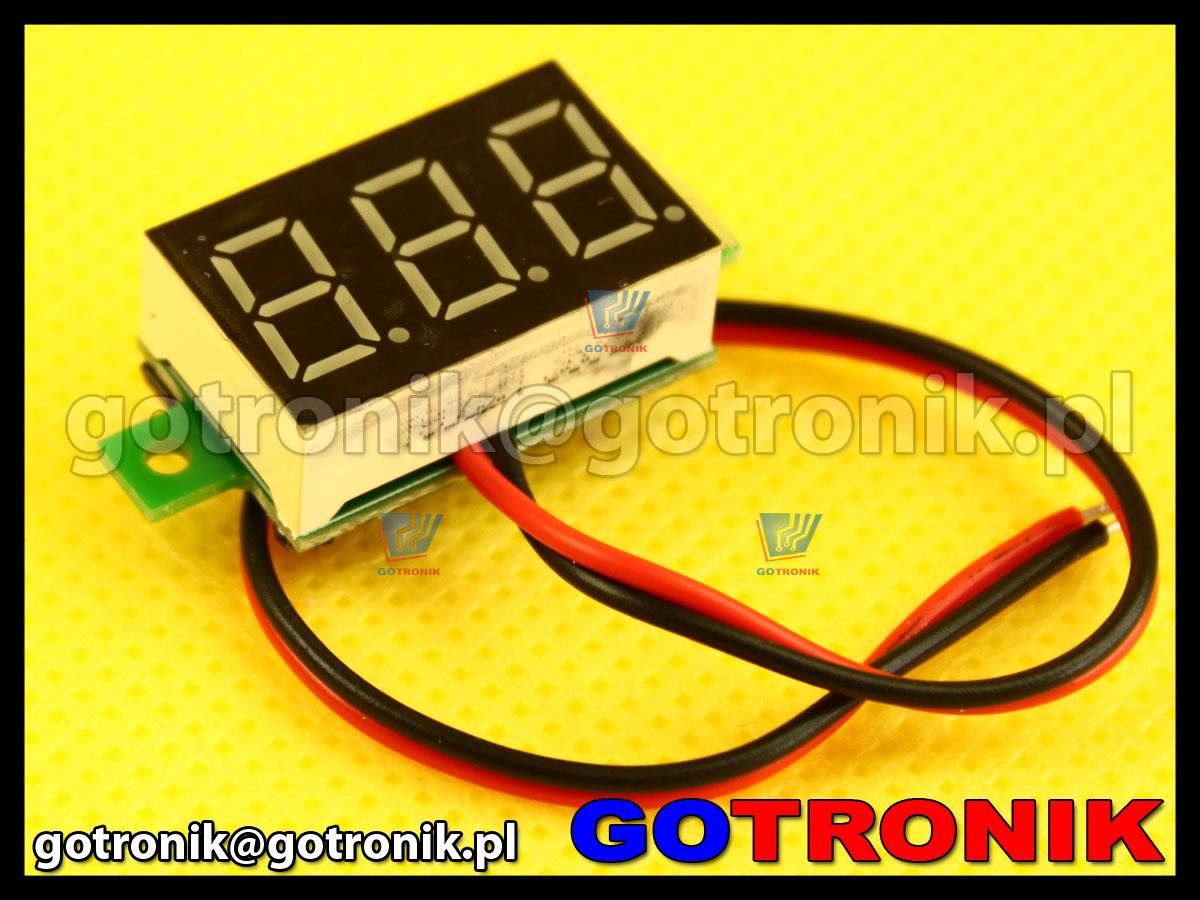 Woltomierz panelowy cyfrowy LED 2,7-30V zielony