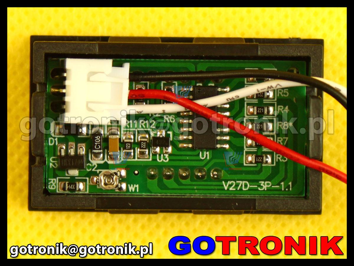 Woltomierz panelowy cyfrowy LED 0-99,9V ZIELONY obudowa V27D 100V
