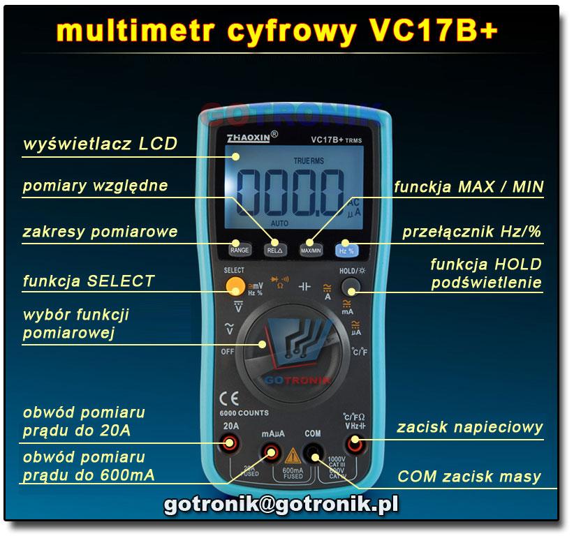 VC17B+ Zhaoxin TrueRMS miernik cyfrowy multimetr uniwersalny 6000