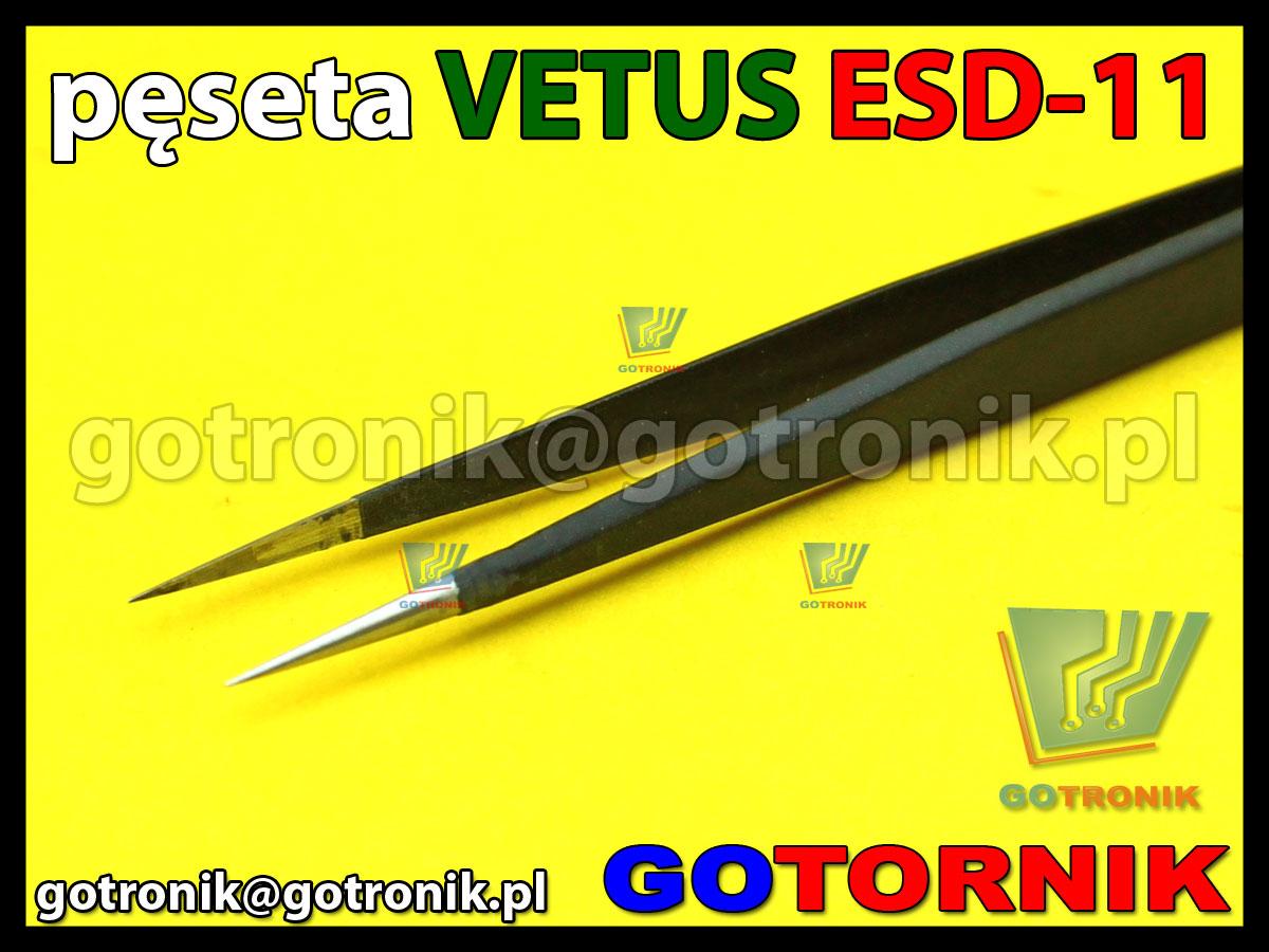 Pęseta ESD-11 VETUS pincenta antymagnetyczna końcówka prosta ostra długa