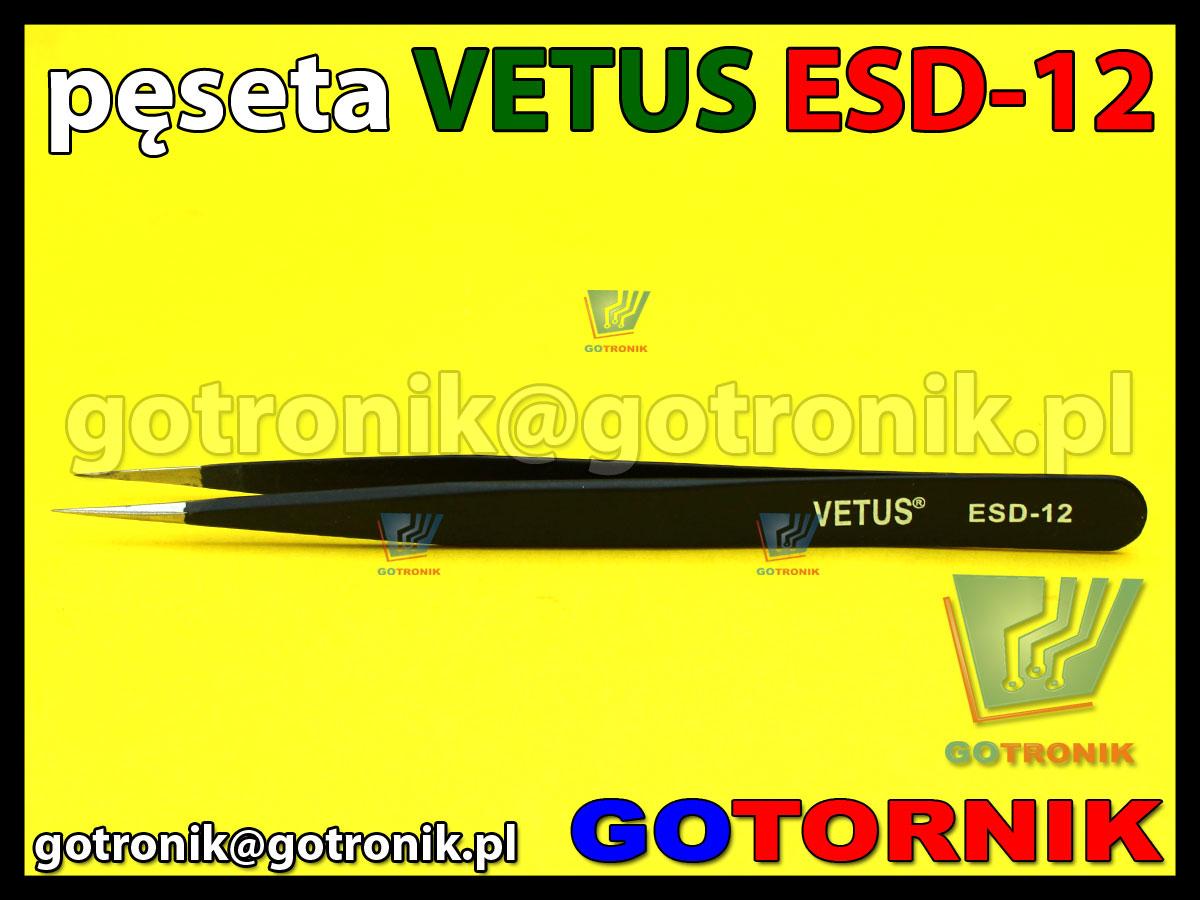 Pęseta ESD-12 VETUS pincenta antymagnetyczna końcówka prosta ostra