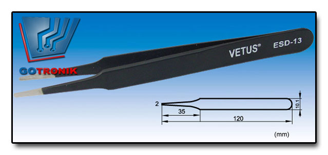 Pęseta ESD-15 VETUS pincenta antymagnetyczna końcówka prosta zaokrąglona