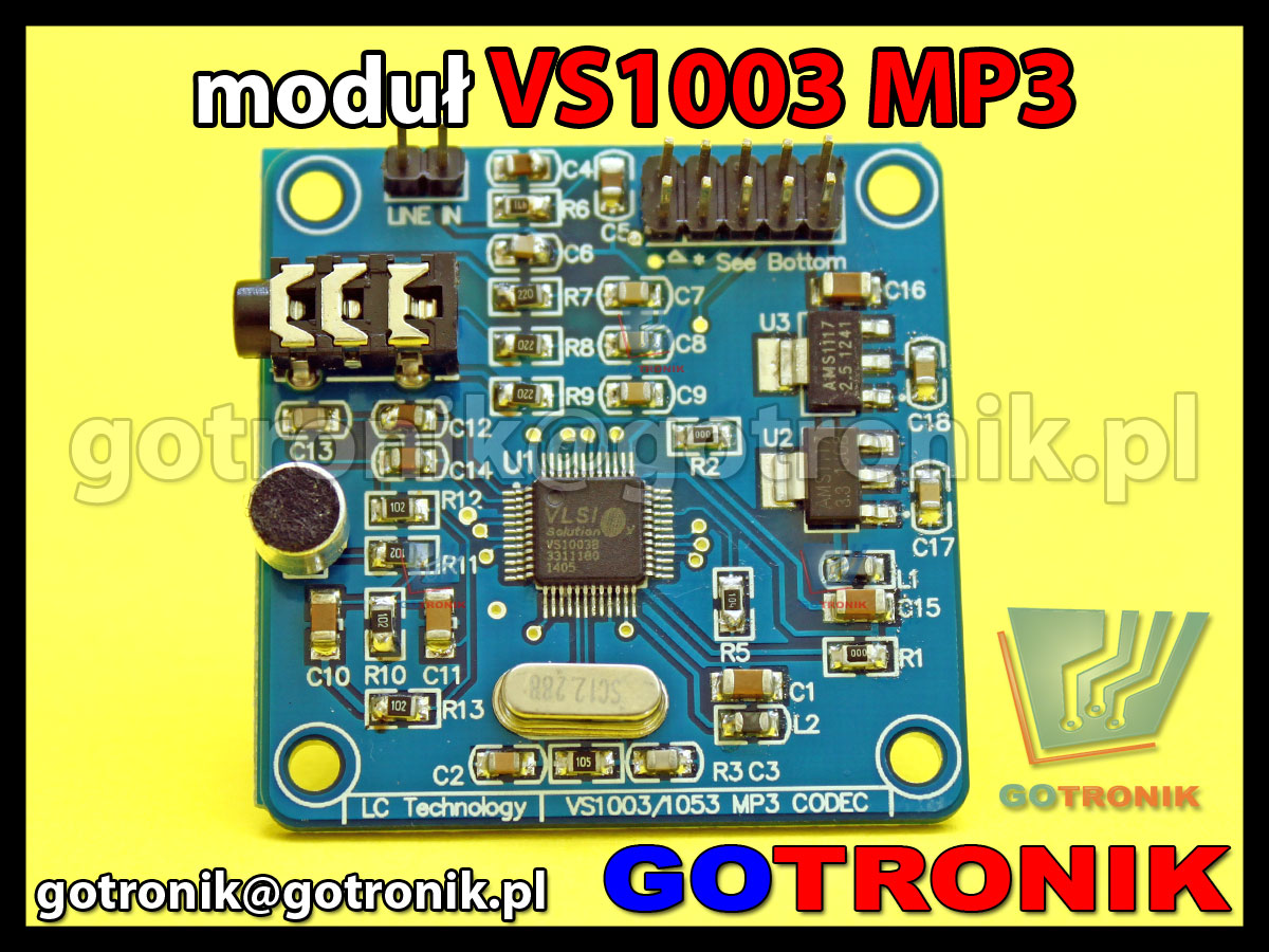Moduł sprzętowego odtwarzacza MP3 VS1003 VLSI MP3, MP3 + V, WMA, WAV, MIDI, the SP-MIDI