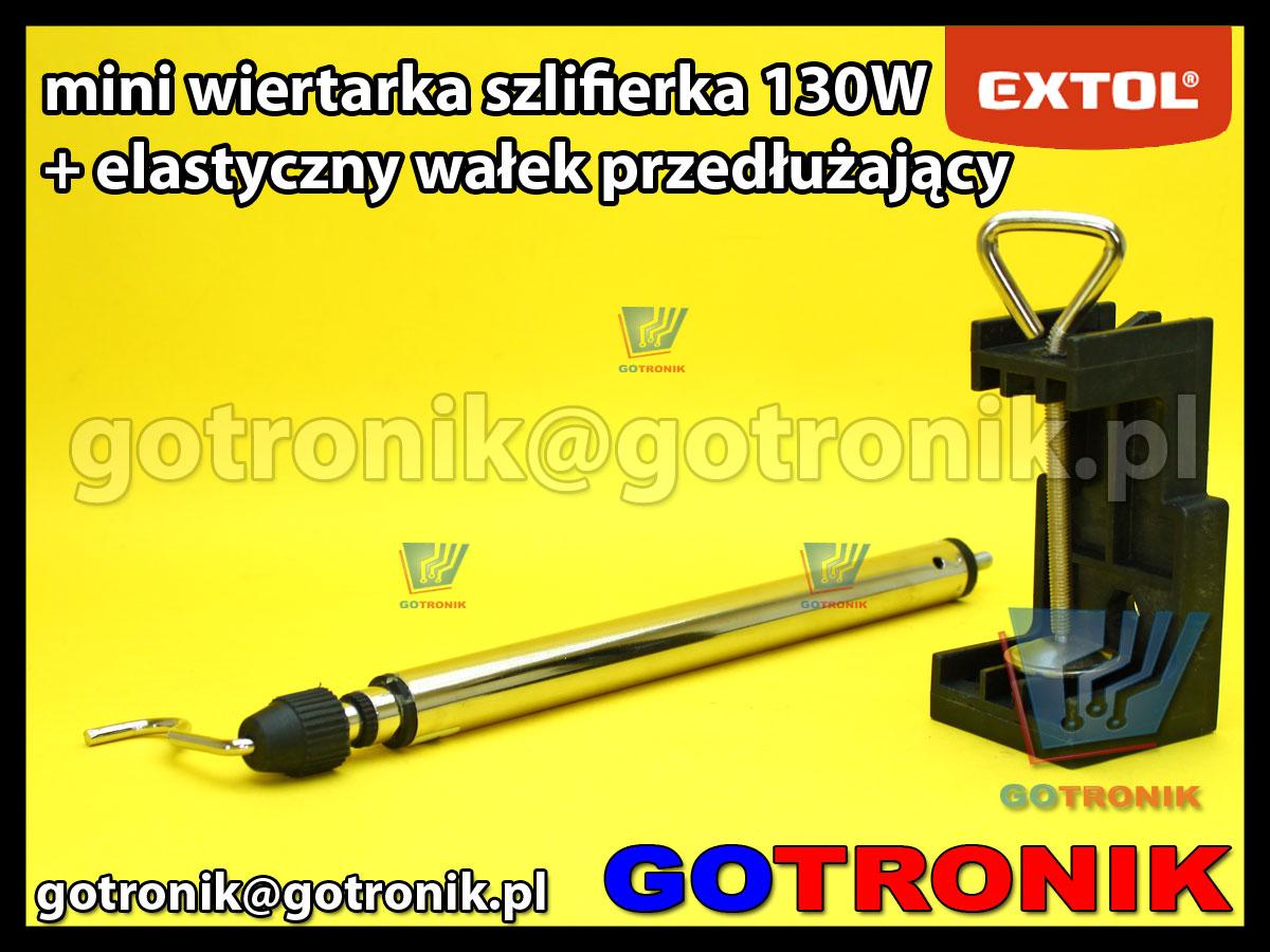 Mini wiertarka szlifierka 130W Extol Craft modelarska z przedłużającym elastycznym wałekiem giętkim