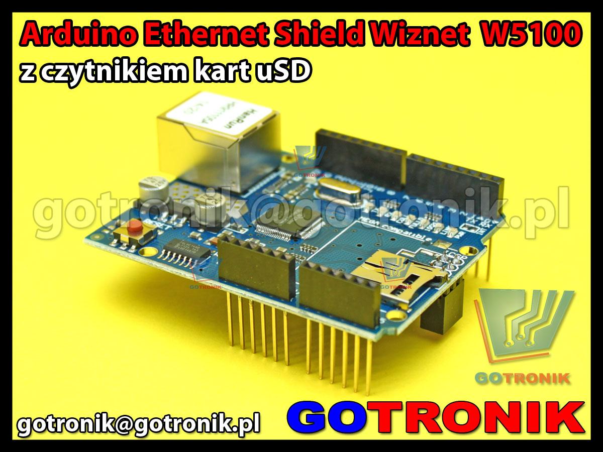 Arduino Ethernet Shield z czytnikiem kart uSD Wiznet W5100