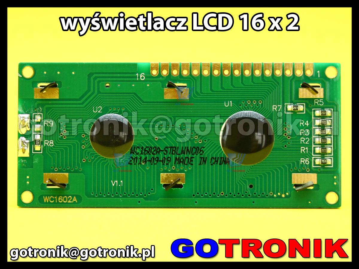 Wyświetlacz LCD1602 niebieskie podświetlenie białe znaki sterownik S6A0069 zgodny z Hd44780