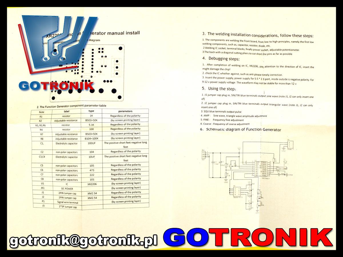 generator funkcyjny XR2206 zestaw do samodzielnego montażu BTE-148