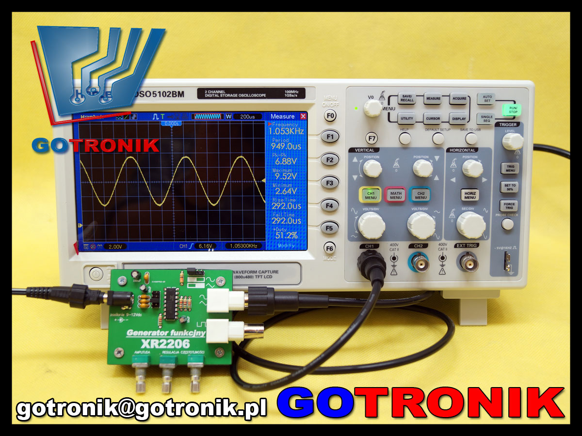 ELEK-056 XR2206 XR-2206 generator funkcyjny przebiegów sin monolithic function generator BNC ELEK056