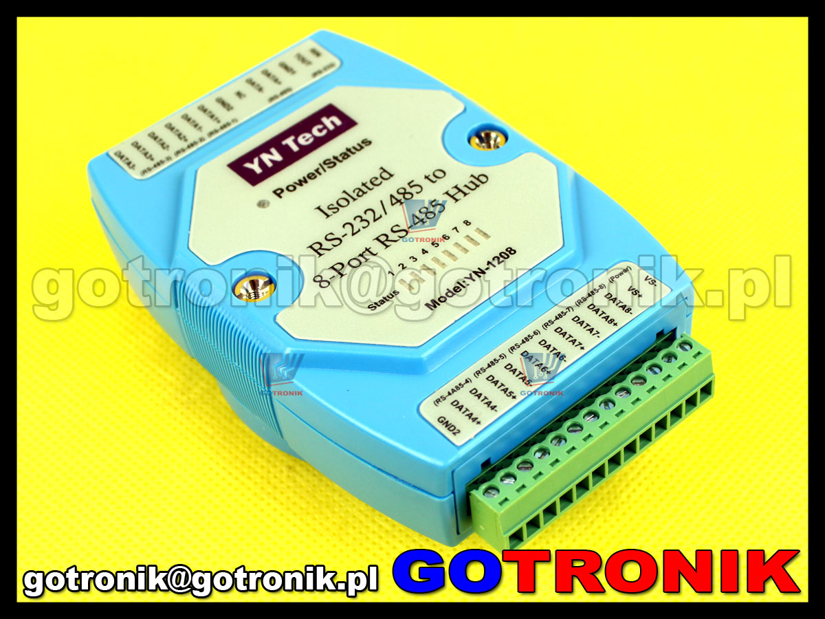 YN-1208 izolowany 8 portowy hub RS485 z interfejsem RS232/RS485 (wbudowany konwerter RS-232 na RS-485)