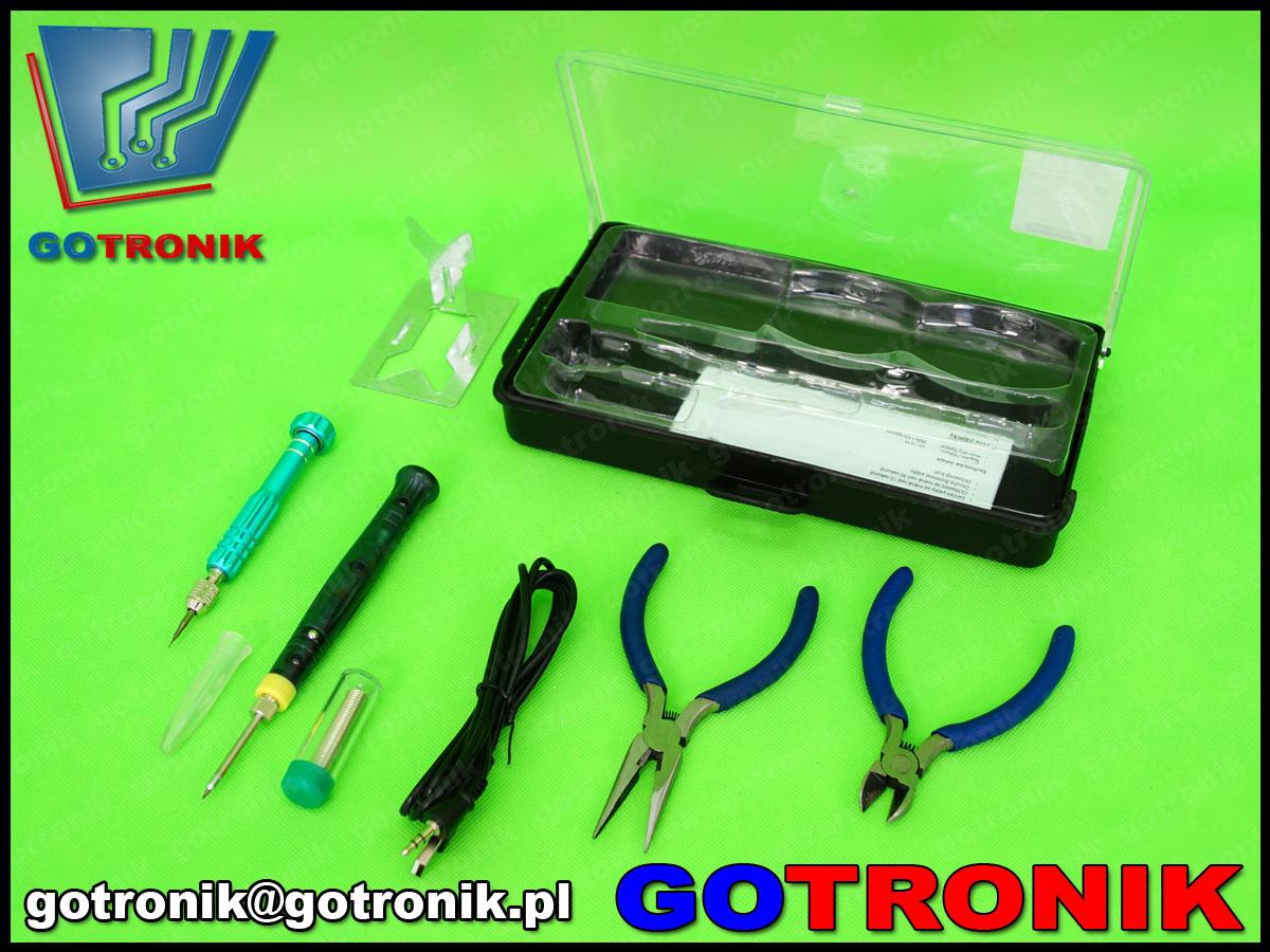 ZD-972F 89-9726 zestaw narzędziowy lutownica usb 8w płaskoszczypy szypce tnące wkrętak ZD972F