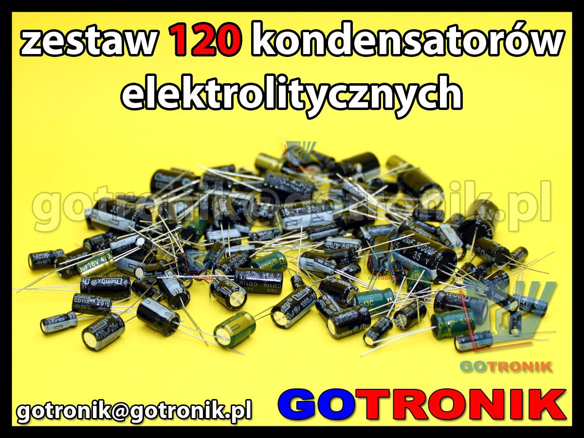 zestaw 120 sztuk kondensatorów elektrolitycznych przewlekanych 105C