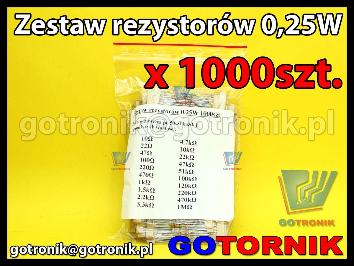 Zestaw rezystorów węglowych przewlekanych 0,25W x1000 sztuk o różnych wartościacht