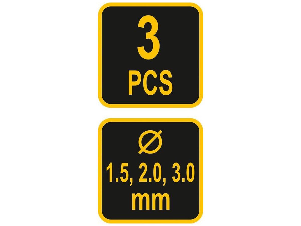 Świderki ręczne komplet 3 sztuk 1,5-2,0-3,0mm