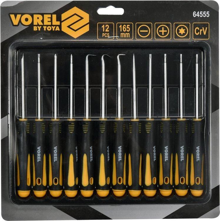 zestaw precyzyjnych wkrętaków i haczyków 12 elementów Vorel 64555