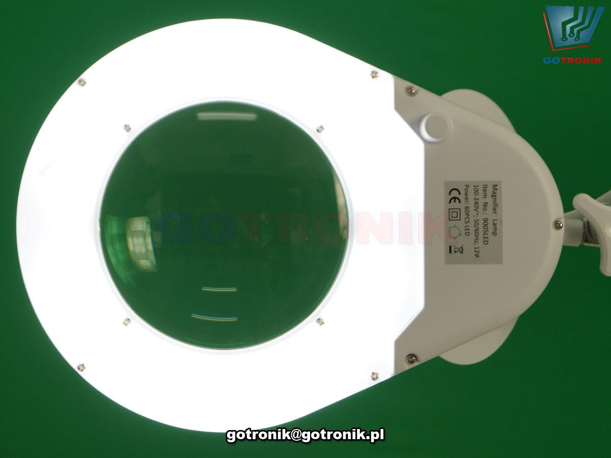 LAM-041, LAM-003, lampa z lupą powiększającą szklana soczewka o powiększeniu 3DPI i średnicy 5cali 127mm z oświetleniem 60 LED SMD 12W 1200 lumen temperatura barwowa z zakresu 5600-6000K przykręcana do blatu