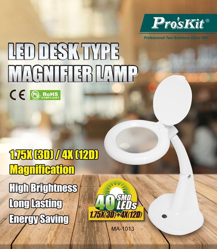 Lampa z lupą 3D + 12D na stół 40xLED MA-1013MF produkcji Pro'skit