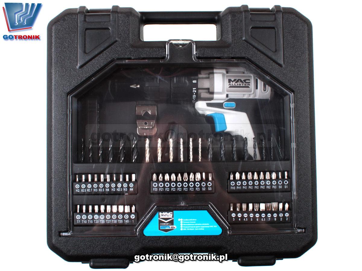 Wkrętak akumulatorowy 18V Macallister CDT218CL śrubokręt elektryczny akcesoria walizka 2 akumulatory 1,3Ah