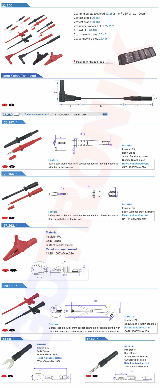 zestaw końcówek, akcesoriów pomiarowych produkcji Amas 33.320 14 elementów