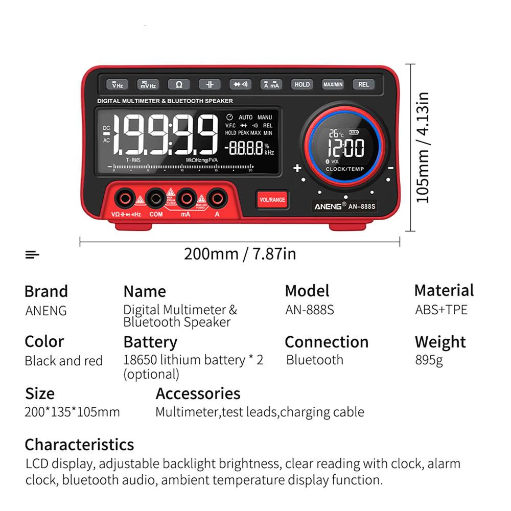 Aneng AN888S miernik cyfrowy mutimetr uniwersalny True RMS z głośnikiem Bluetooth laboratoryjny AN-888S