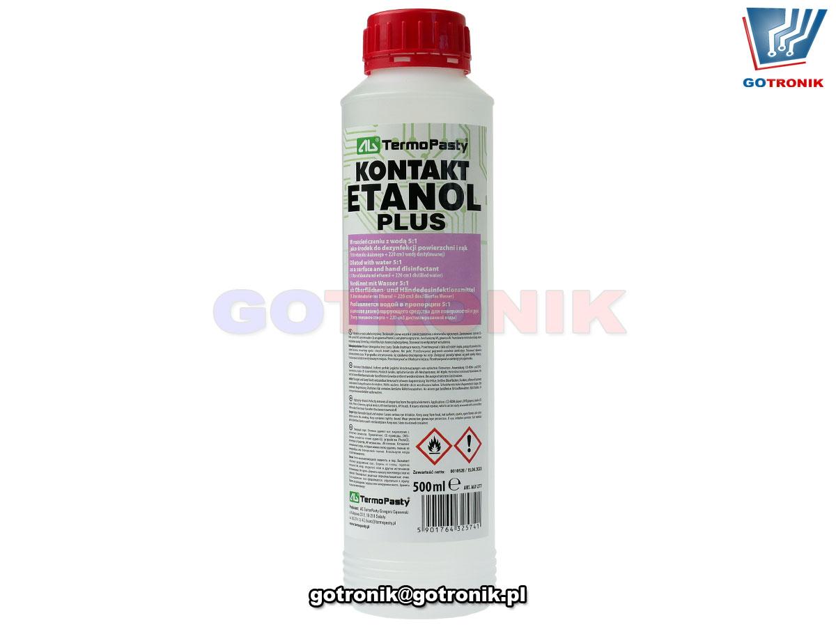 Kontakt ETANOL plus ART.AGT277 5901764325741 w rozcieńczeniu z wodą 5:1 może być stosowany jako środek do dezynfekcji powierzchni i rąk