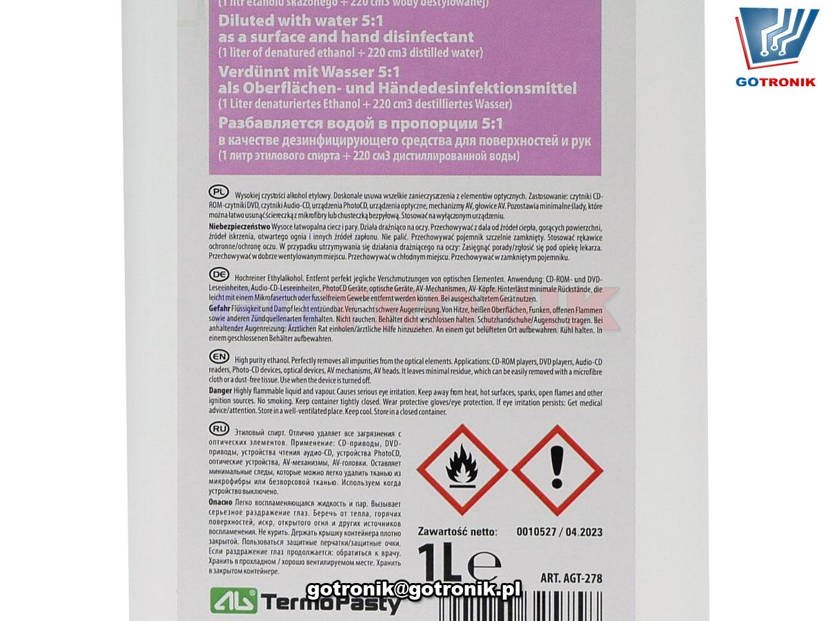 Kontakt ETANOL plus ART.AGT278 5901764325758 w rozcieńczeniu z wodą 5:1 może być stosowany jako środek do dezynfekcji powierzchni i rąk