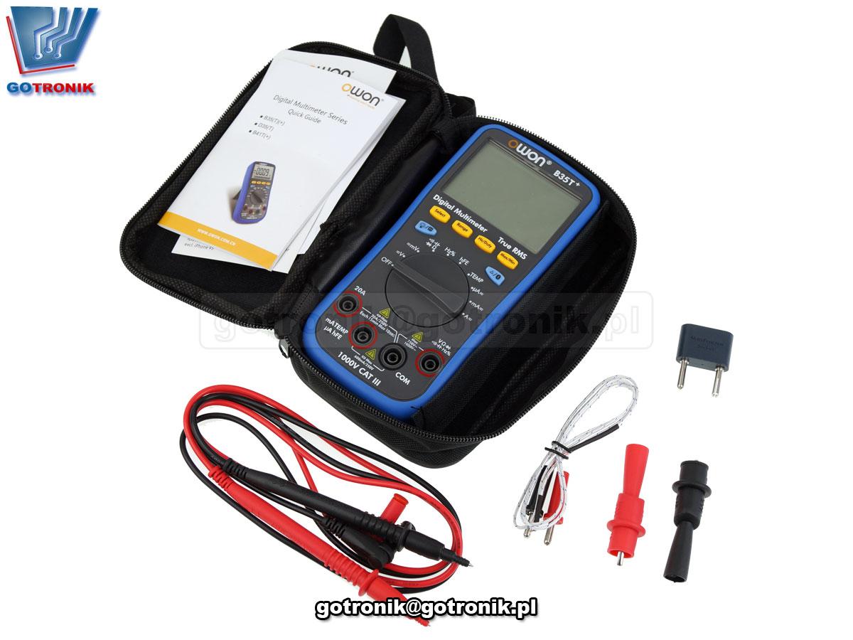 B35T+ Owon multimetr uniwersalny miernik cyfrowy LCD Bluetooth True RMS rejestrator