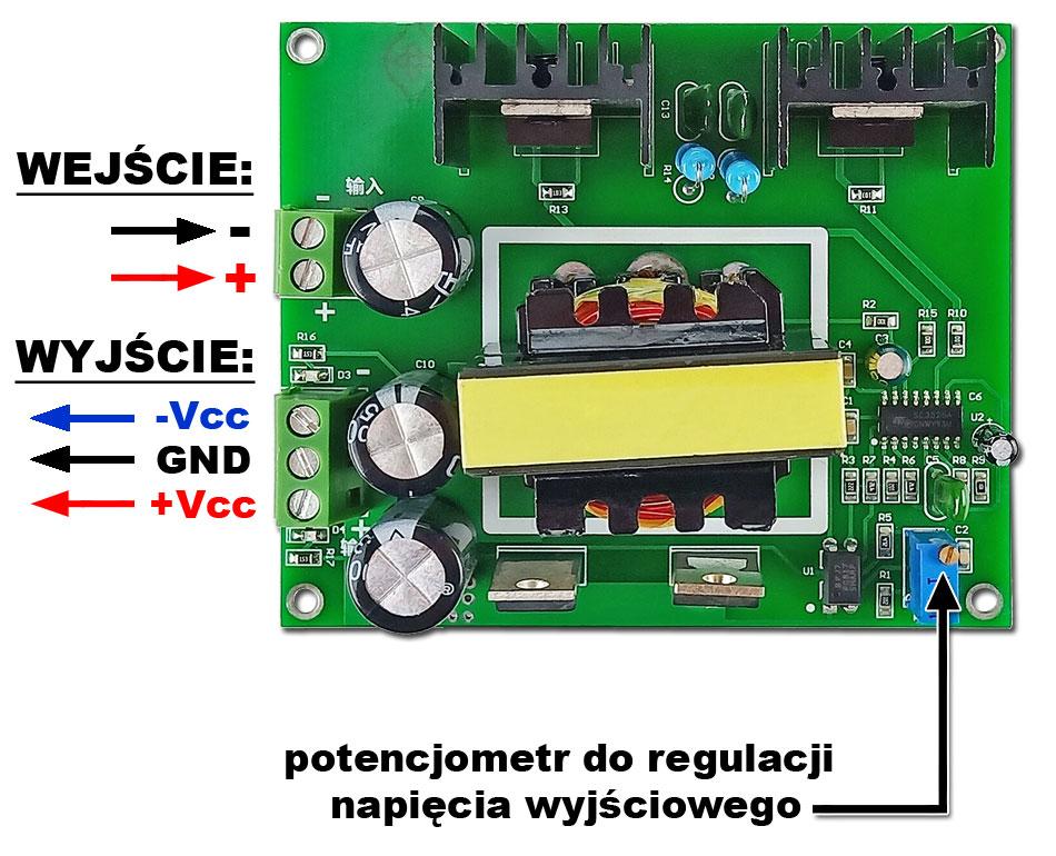 Przetwornica napięcia symetrycznego ±18V do 26V 5A 180W BTE-1000