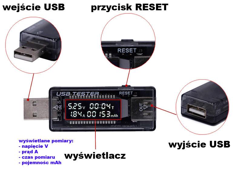 Miernik napięcia i prądu USB Keweisi KWS-V21 BTE-212
