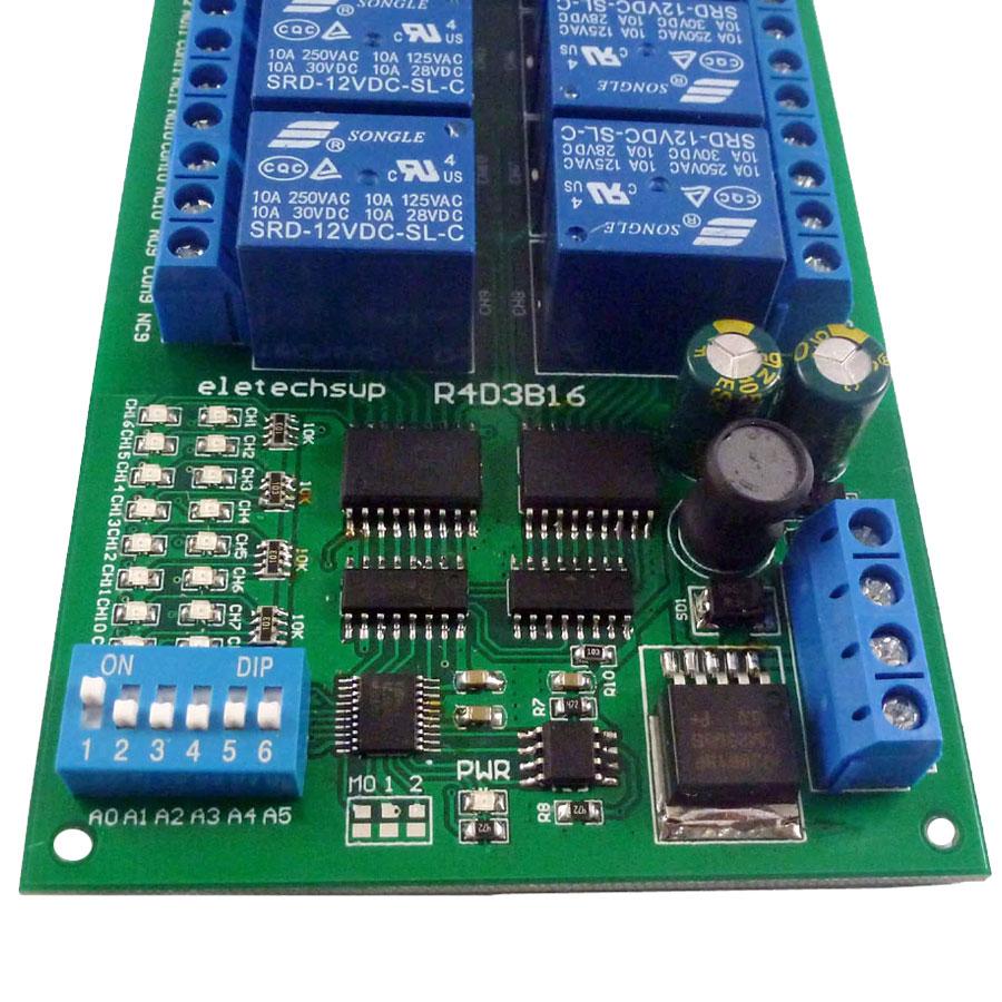 Moduł 16 przekaźników sterowanych przez RS485 MODBUS RTU AT BTE-291