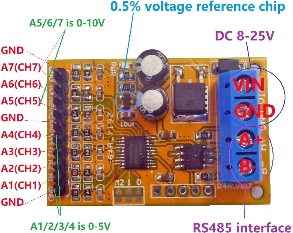 Moduł pomiarowy napięcia 7 kanałowy RS485 MODBUS RTU PLC BTE-293