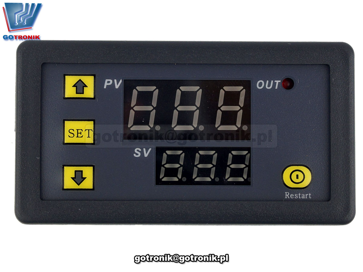 BTE-648 przekaźnik czasowy, czasówka, timer, programator czasowy, przekaźnik z układem czasowym, układ opóźnionego załączenia, włącznik czasowy, wyłącznik czasowy, moduł opóźnionego włącznika, układ z odliczaniem czasu załączenia, cykliczne załączanie lub włączanie