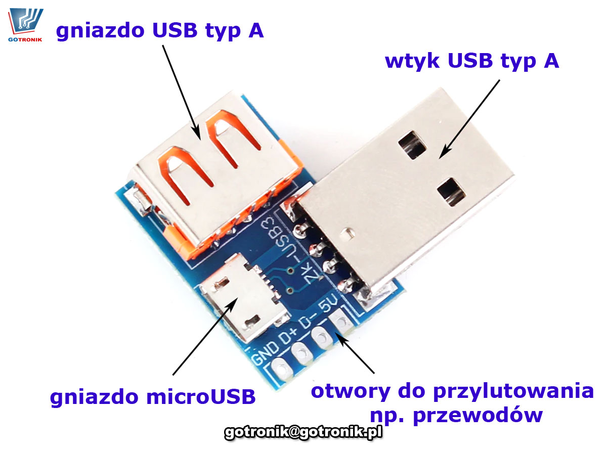 Adapter gniazdo-wtyk USB A , micro USB piny d+ d- vcc gnd gold-pin BTE-684