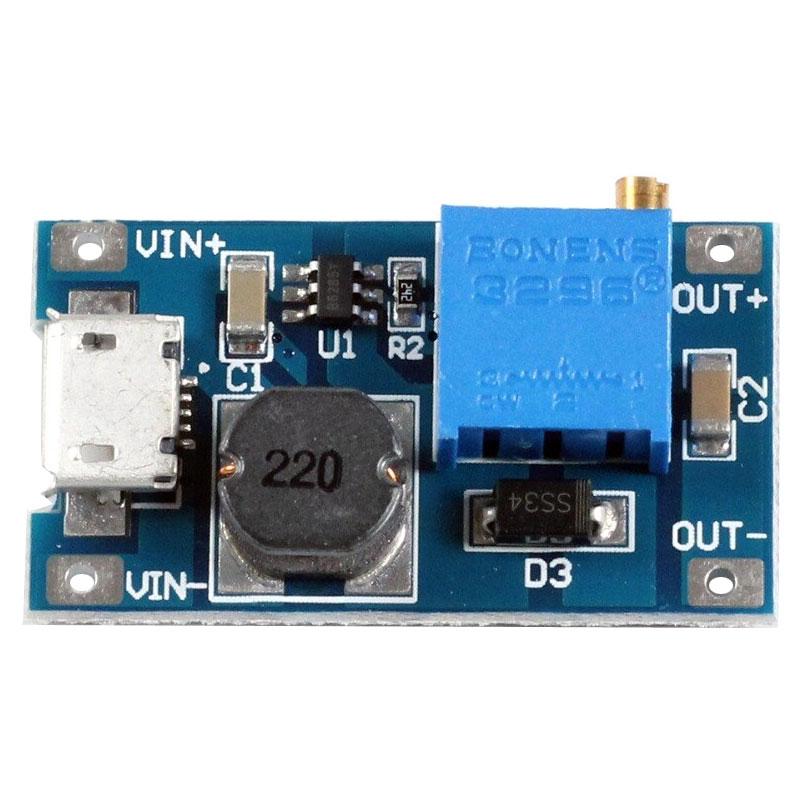 Przetwornica napięcia MT3608 do 28V gniazdo microUSB stepup podwyższająca napięcie BTE-800