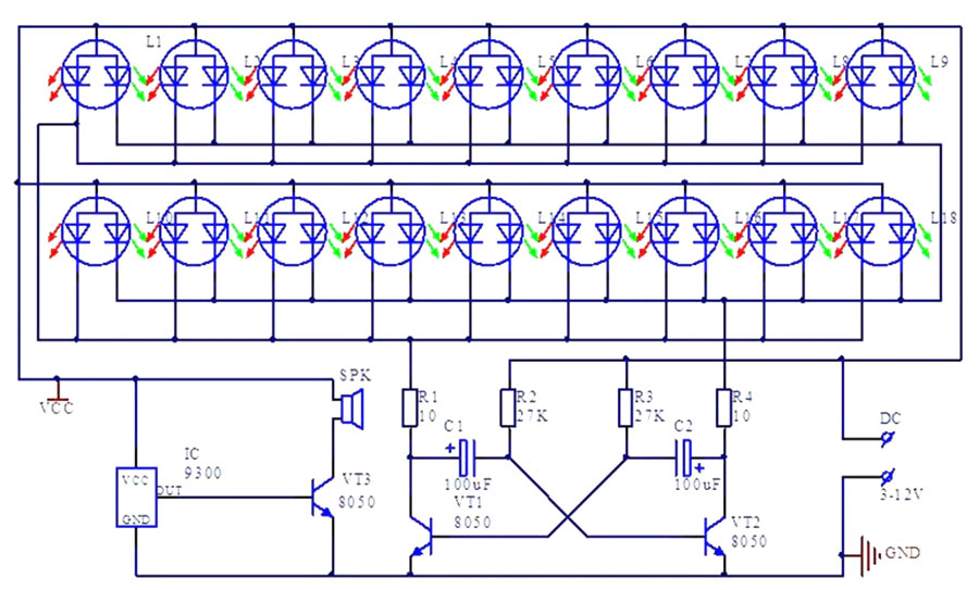 BTE-807 Migające serce LED - efekt świetlny zestaw do samodzielnego montażu kit/diy