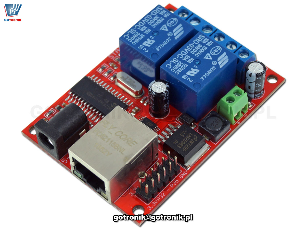 Moduł 2 przekaźników sterowanych przez LAN Ethernet BTE-832
