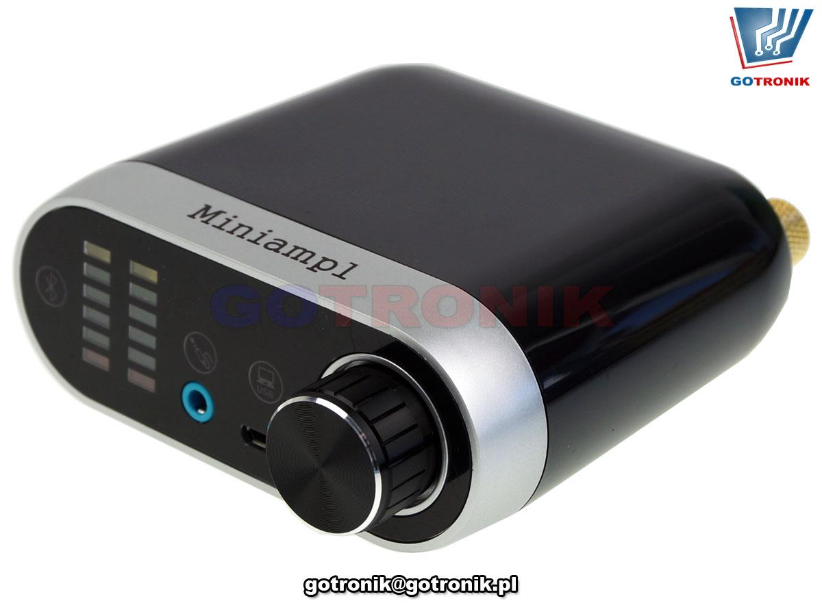 wzmacniacz audio akustyczny 2x50W Bluetooth USB aux in jack wskaźnik wysterowania VU BTE-857