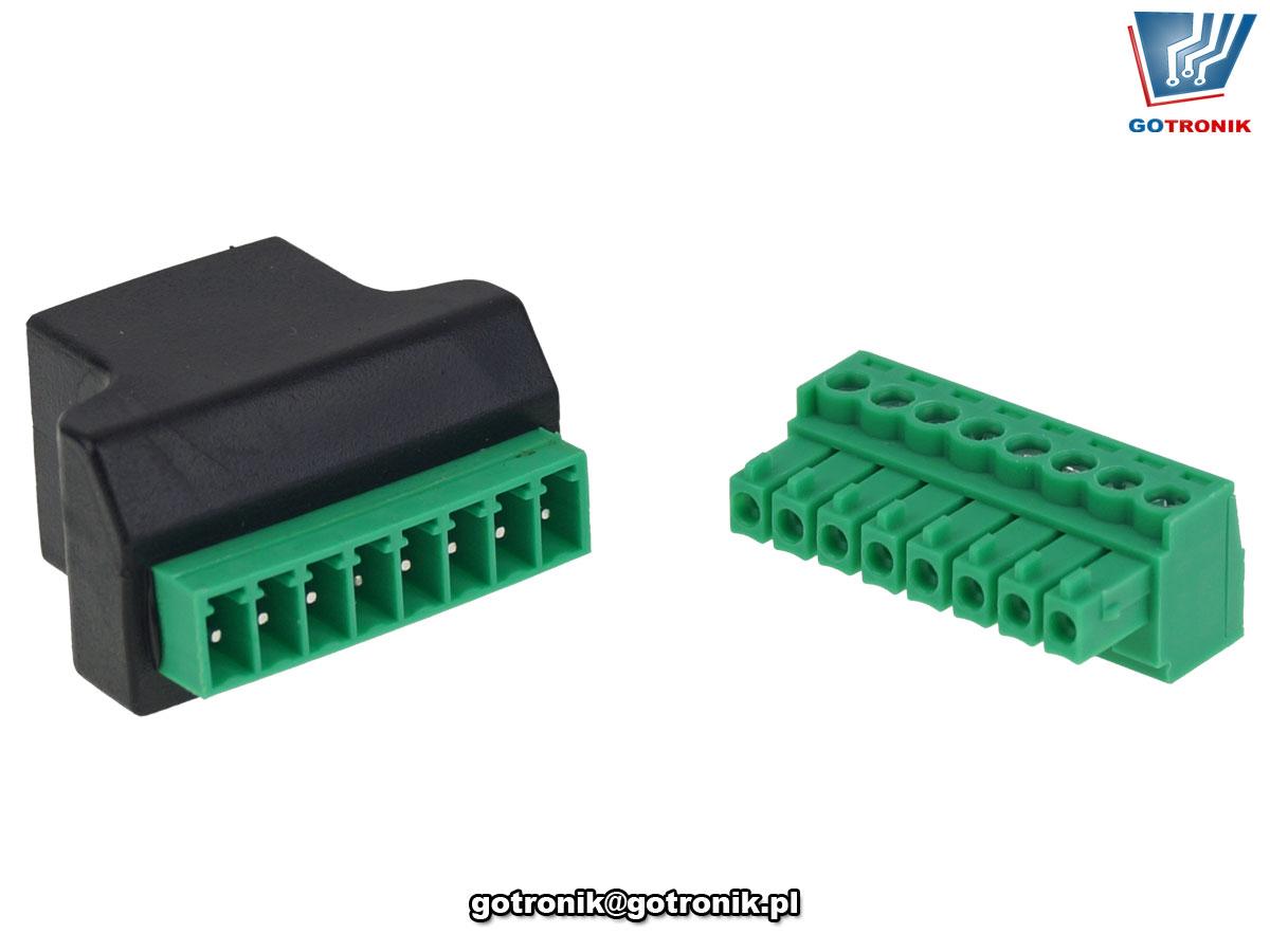 adapter przejściówka rozdzielacz konwerter z gniazdo RJ45 na złącze śrubowe BTE-898
