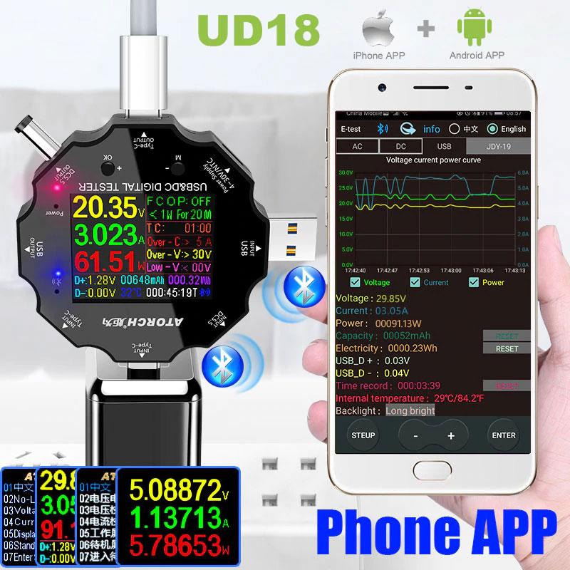 UD18 uniwersalny miernik napięcia i prądu z Bluetooth BTE-903