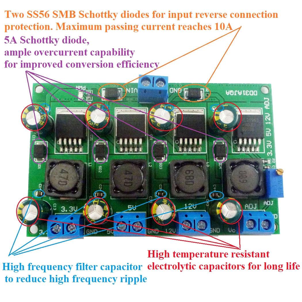 Przetwornica napięcia 3,3V 5V 12V + regulowane 2V do 28V XL2596 LM2596 BTE-942