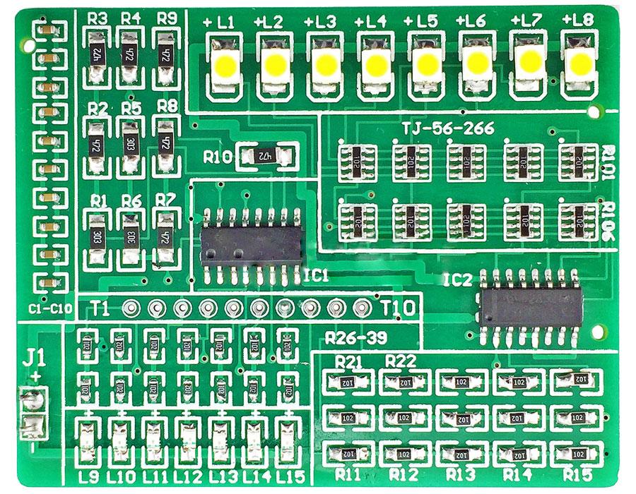 zestaw 76 sztuk elementów elektronicznych SMD + płytka drukowana PCB do nauki lutowania BTE-982