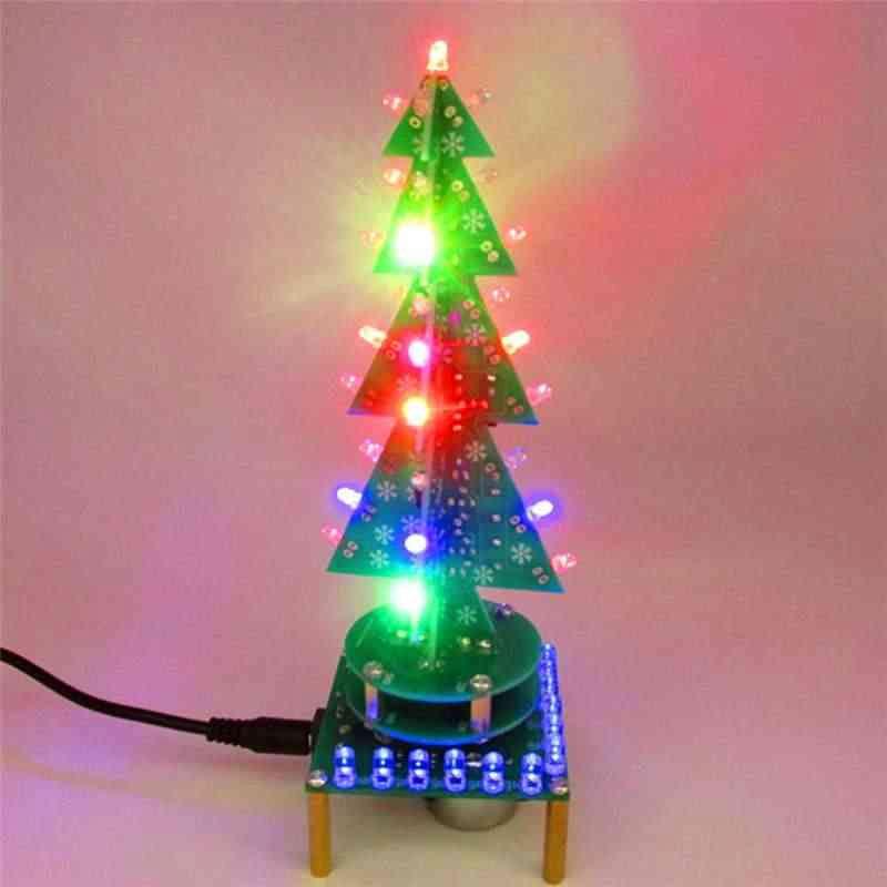Choinka 3D LED migająca obrotowa zestaw do samodzielnego montażu KIT/DIY BTE-992