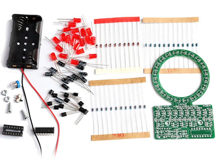 Płynące światło po okręgu LED czerwone KIT/DIY BTE-995