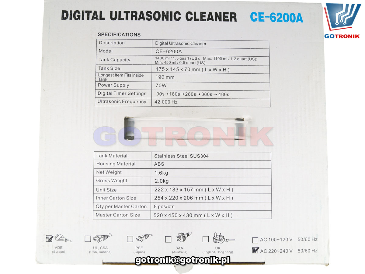 CE-6200A myjka ultradźwiękowa pojemność 1400ml